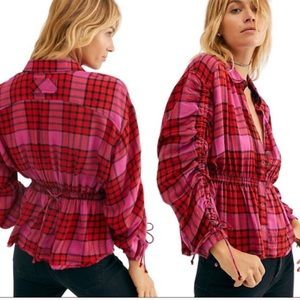 Free people red pink plaid combo plaid top NWT
